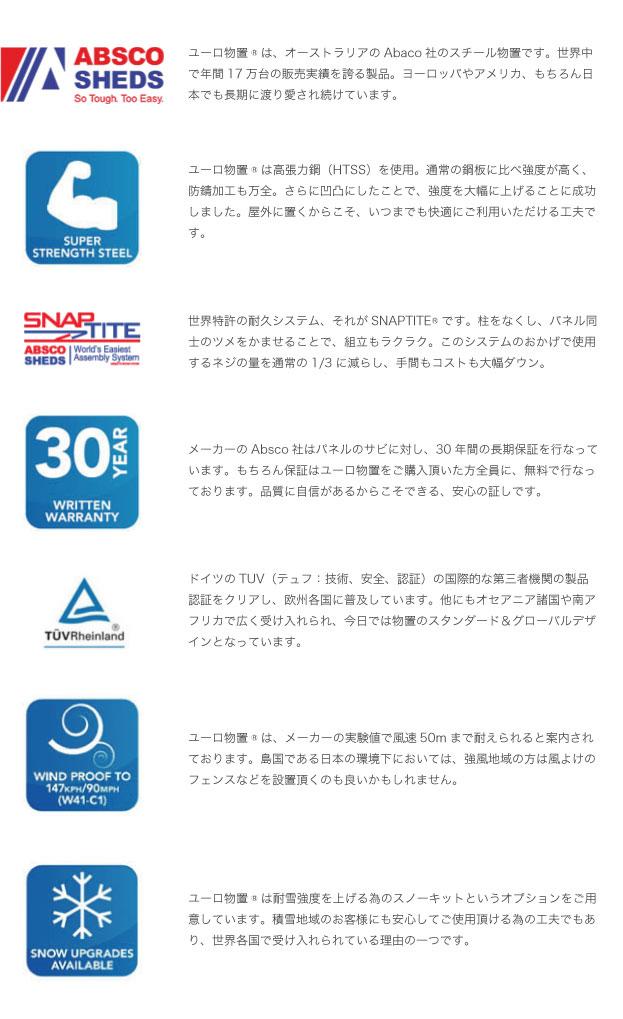 ユーロ物置の保証は30年が年間17万台を売る、お問い合わせは静岡県藤枝市のシンプルオフィスまで